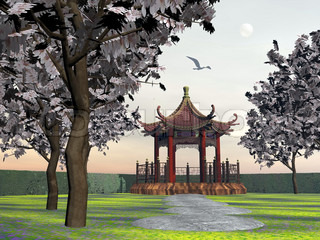 Gazebo in garden - 3D render