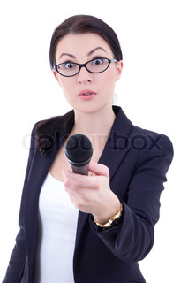 funny young female journalist with microphone isolated on white