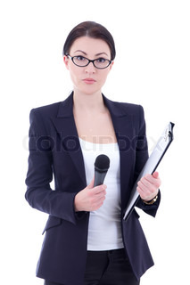 portrait of female reporter with microphone and clipboard isolated on white