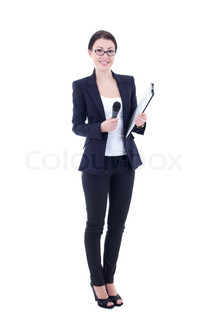 female journalist with microphone and clipboard isolated on white