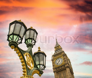 Beautiful sky over Big Ben and classic London lamp post