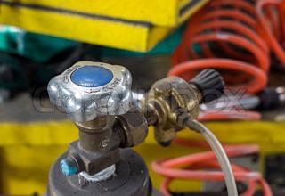 gas tank valve close up