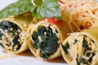 Cannelloni with spinach and white sauce | Stock Photo | Colourbox