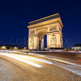 arc de triomphe by night with car lights paris france stock photo colourbox. Black Bedroom Furniture Sets. Home Design Ideas