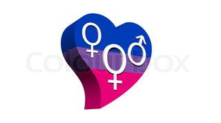 Female bisexual heart - 3D render