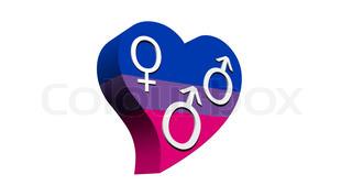Male bisexual heart - 3D render