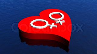 Lesbian heart - 3D render