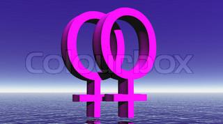 Lesbian love - 3D render