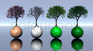 Four seasons trees upon earth - 3D render