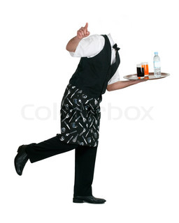Waiter with bottle of water and glasses