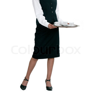 A young attractive waitress on a white background
