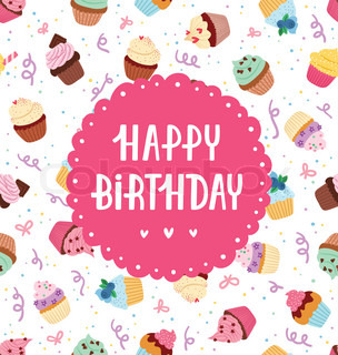 Yummy Decorated Cupcake And Happy Birthday Greeting Stock Vector