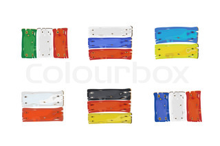 European countries flags made of wooden planks illustration