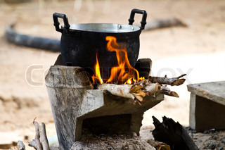 cook on pot at the charcoal brazier