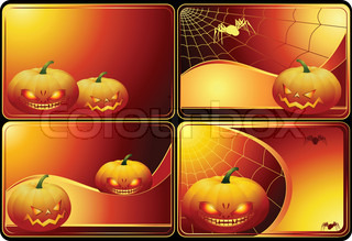 Set of four Halloween cards