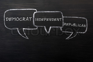 Speech bubbles for democrat,independent and republican