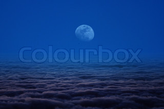 mist cloud moon and blue sky