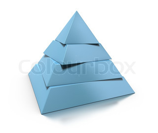 3d pyramid, four levels