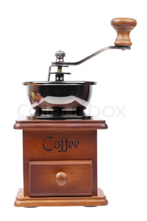 Vintage coffee mill isolated on white