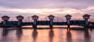 Floodgate River dam for irrigation and flood control in Thailand