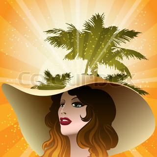 The girl in a beach hat