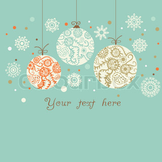 Light blue background with orange, blue and brown Christmas ball