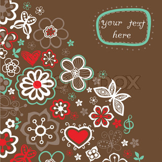 Floral background, summer theme, greeting card. Template design can be used for packaging,invitations, Valentine's Day decoration,bag template, print for packet, cup. Place your text in the label