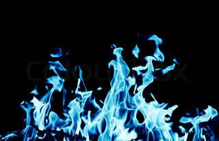 abstract background of blue flame fire on black background