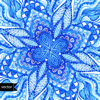 Vector doily watercolor vector gzhel pattern. Decorative white and blue ornament. Watercolor vector gzhel illustration. Doily pattern