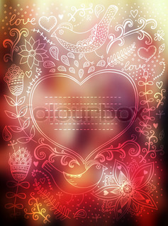 Vector Valentine's Day background. Blurred template, holiday. Invitation card in doodles style. Floral card with heart frame. Greeting card,wedding invitation. Floral corner, I love you.