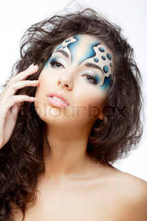 Girl with makeup in the form of water and bubbles