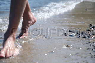Image of 'walking, sandy beach, walk'