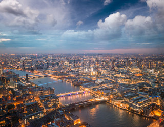 London night skyline aerial view with St Paul Cathedral