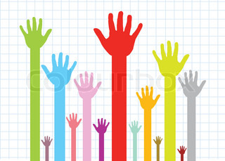colorful silhouette hands background design