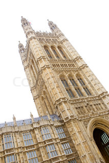 Slanting image of the tower of Westminster abbey