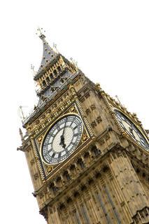 Slanting image of Big Ben in London