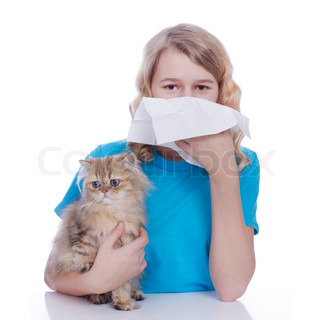Girl with handkerchief and cat allergy