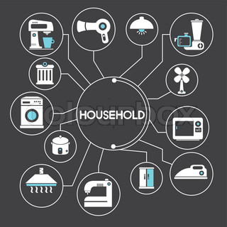 household and electronics network info graphic black background theme
