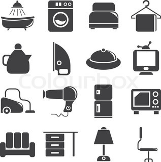 household and electronics icons