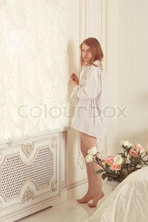 girl . the morning in bedroom