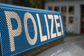Close up of a German police sign