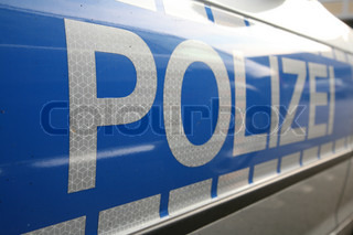 close-up of a police sign