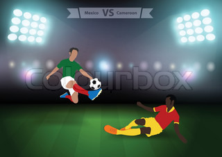 Two football players in jump to strike the ball at the stadium, Soccer players mexico versus cameroon, Brazil 2014 group A Vector illustration modern design template