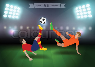 Two football players in jump to strike the ball at the stadium, Soccer players spain versus holland, Brazil 2014 group B Vector illustration modern design template
