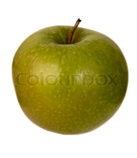 Isolated image of a green apple over white background
