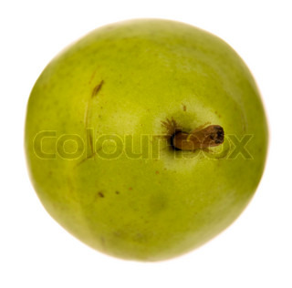 Isolated image of a green pear over white background