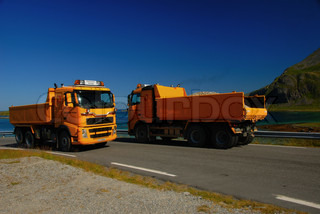 Image of 'norway, lofoten, truck'
