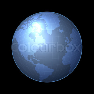 Globe Icon with Light Map of the Continents. Vector