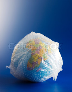 Globe covered with bubble wrap