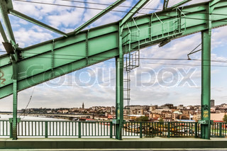 Renovated WWII Old Sava's Bridge Steel Riveted Arch With Belgrade Downtown Panorama - Serbia
